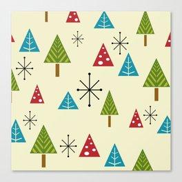 Mid Century Modern Christmas Trees Canvas Print