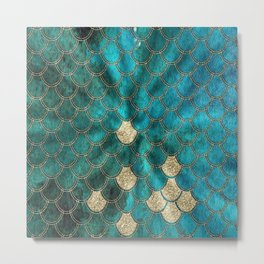 Multicolor Aqua And Gold Mermaid Scales -  Beautiful Abstract Pattern Metal Print