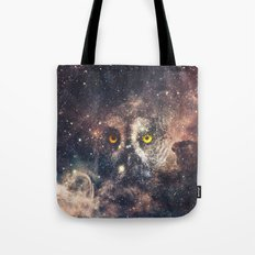 Purple Galaxy Nebula Stars Blue Space Hipster Owl Tote Bag