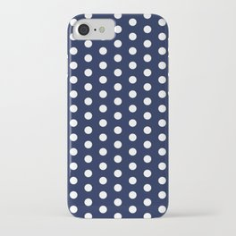 Navy Blue Polka Dots Minimal iPhone Case