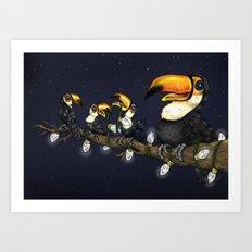 Christmas Toucans Art Print