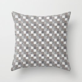 Rustic Charcoal Beige and Cream Patchwork Throw Pillow