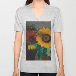 Sonnenblumen mit Fuchsschwanz - Sunflowers Still Life by Emil Nolde Unisex V-Neck