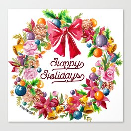 Christmas Wreath Painting Illustration Design Canvas Print