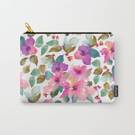 Pink and purplre florals. Watercolor flowers Carry-All Pouch