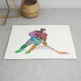 Girl Ice Hockey Sports Art Rug