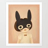bunny Art Prints featuring Bunny by The Midnight Rabbit
