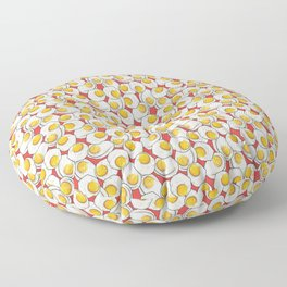 Fried egg feast in Red Floor Pillow