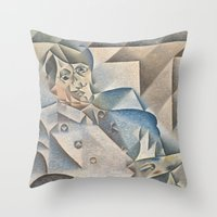 pablo picasso Throw Pillows featuring Portrait of Pablo Picasso by ArtMasters