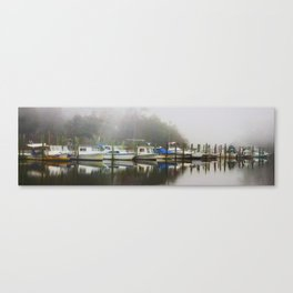 Boats in the Missippi fog Canvas Print