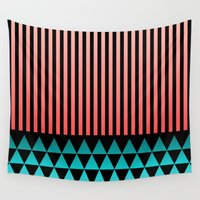 peach Wall Tapestries featuring Peach/Teal by Lyle Hatch