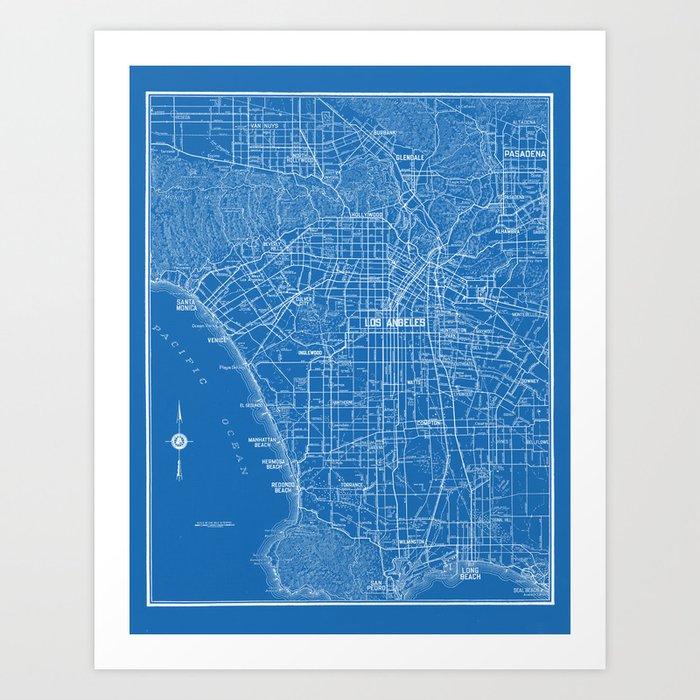 Los Angeles Street Map Art Print