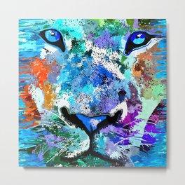 Wild Water Lion Metal Print