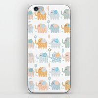 elephants iPhone & iPod Skins featuring Elephants by Claire Brown Surface Pattern