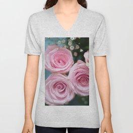 Light Pink Roses with bokeh Unisex V-Neck