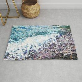 Waves lap at the shore - painting - art gift - abstract Rug