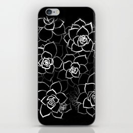 White ink. graphic with white ink and black cardboard. flowers iPhone Skin