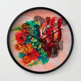heart and flowers Wall Clock