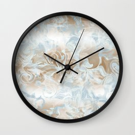 Watercolour in Blue Gold Wall Clock