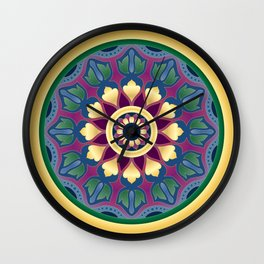 Vintage Floral Mandala Wall Clock