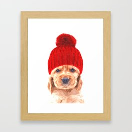Cocker spaniel puppy with hat Framed Art Print