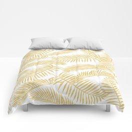 Palm Leaf Pattern Golden Comforters