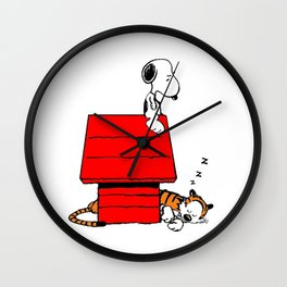 Snoopy and Hobbes Wall Clock