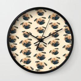 cartoon cute puppy dog fawn pug pattern Wall Clock