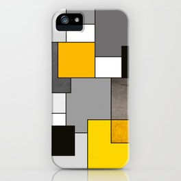 Black Yellow and Gray Geometric Art iPhone Case