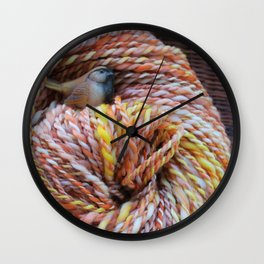 Fall in love with fall knitting Wall Clock