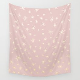 Star Pattern| Gold and Pink | Minimal Design | Christmas Love Wall Tapestry