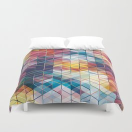 Cuben Curved #5 Geometric Art Print. Duvet Cover