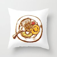 dessert Throw Pillows featuring Dessert by EGARCIGU
