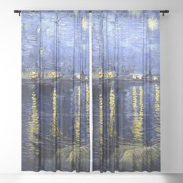 """Vincent Van Gogh """"Starry Night Over the Rhone"""" Sheer Curtain"""