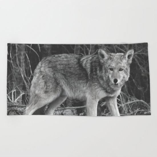 Mighty Wolf (Black & White) Beach Towel