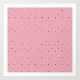Small sketchy gold hearts pattern on pink background Art Print