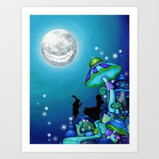 Alice in Wonderland and Cheshire Cat Art Print