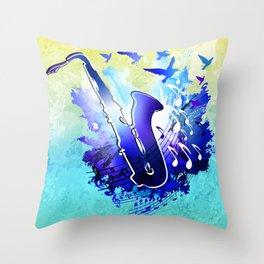 Saxophone music instruments design  Throw Pillow