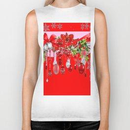 RED CHRISTMAS SNOW FLAKES & AMARYLLIS CHRISTMAS ORNAMENTS Biker Tank