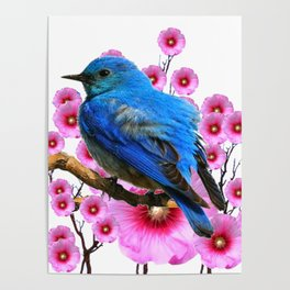 DECORATIVE BLUE BIRD & PINK HOLLYHOCKS VIGNETTE Poster