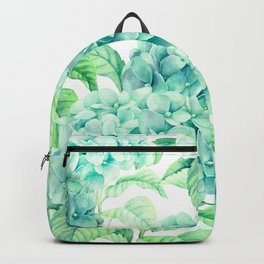 Hand painted green watercolor hydrangea floral pattern Backpack