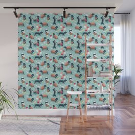 Hot dogs and lemonade // aqua background navy dachshunds Wall Mural