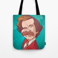 anchorman Tote Bags featuring Anchorman by nachodraws