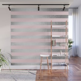 Stripes Moonlight Silver on Flamingo Pink Wall Mural