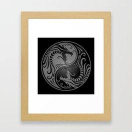 Gray and Black Yin Yang Dragons Framed Art Print