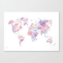 Watercolour World Map (purple) Canvas Print