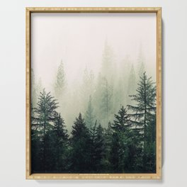 Foggy Pine Trees Serving Tray