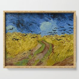Wheatfield with Crows Painting by Vincent van Gogh Serving Tray