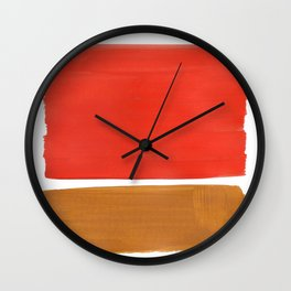 Minimalist Mid Century Modern Colorful Color Field Rothko Orange Yellow Ochre Wall Clock