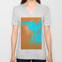 Corpus Christi, TX, USA, Gold, Blue, City, Map Unisex V-Neck